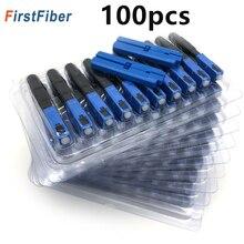 SC UPC Fiber optik hızlı bağlantı 100 SC Fsat konnektör mavi Fibra FTTH tek modlu hızlı bağlantı adaptörü alan montajı