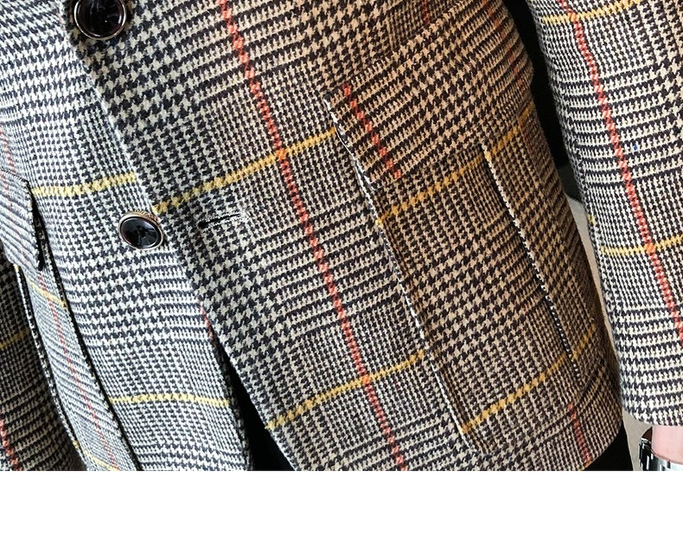 2020 Autumn Plaid Men Blazers Casual Slim Fit Suit Jacket Woolen Wedding Dress Coat Business Streetwear Social Costume Homme 5