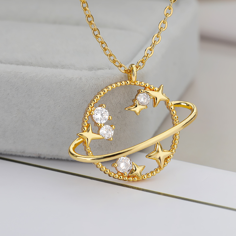 Planet Star Pendant Necklace For Women Gold Silver Color 1