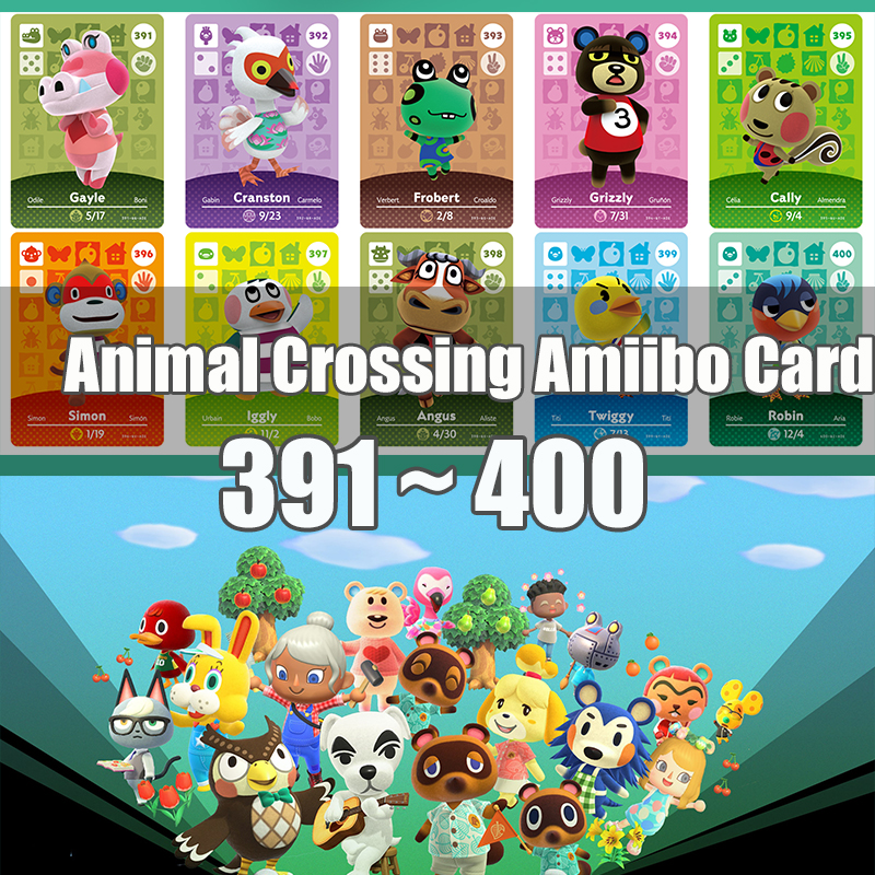Animal Crossing <font><b>Amiibo</b></font> <font><b>Card</b></font> Animal Crossing New Horizons Game <font><b>NFC</b></font> Lobo <font><b>Card</b></font> Work for NS 3DS Game <font><b>Switch</b></font> Series 4 (391-400) image
