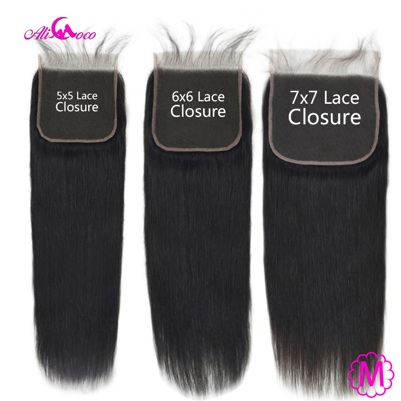Brazilian Straight Lace Closure With Baby Hair Natural Color 5X5 6X6 7X7 Inch 100% Remy Human Hair Extension Swiss Lace Closure