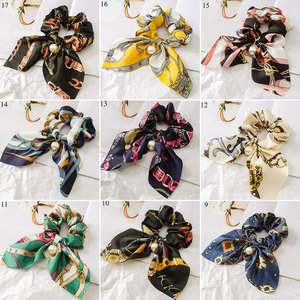 Printed Hair Ties For Girls Women Big Bowknot Scrunchie With Pearl Ponytail Holder Hair Accessories Elastic Hair Rubber Bands