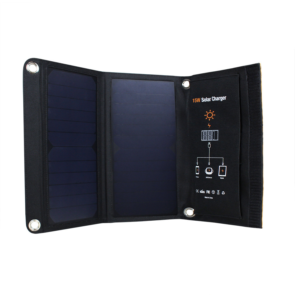 5V Solar Panel Folding Portable Power CharrB Camping Travel Phone Charr