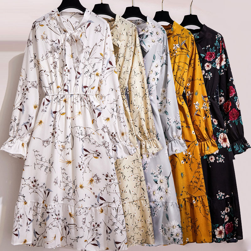 Women Floral Chiffon Dress Autumn Winter Long Sleeve Elastic Waist Bow Collar Casual Elegant Party Office Dresses Vestidos