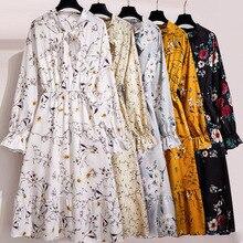 Women Floral Chiffon Dress Autumn Winter Long Sleeve Elastic Waist Bow Collar Casual Elegant Party Office Dresses Vestidos