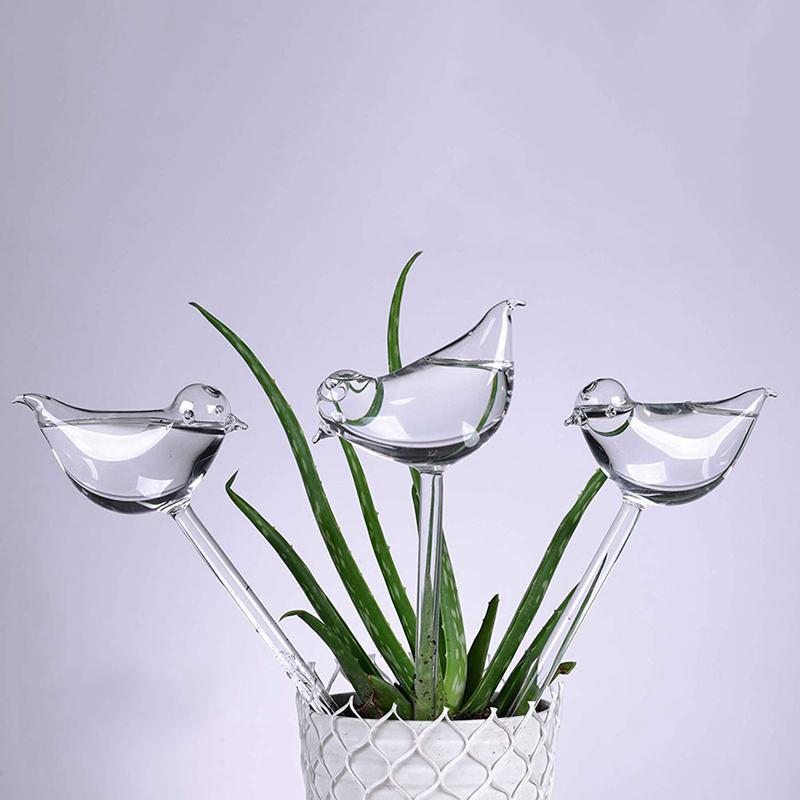 Paquet de 3 Globes d'arrosage automatique d'abreuvoir de plante, forme d'oiseau soufflé à la main en verre clair Aqua ampoules Vases décoration maison pour des fleurs