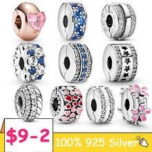 Silver Clasp 925 Sterling Silver CZ pave Pattern Clip Charm Daisy Beads Stopper fit Pandora Bracelet 925 Silver Jewelry Clip