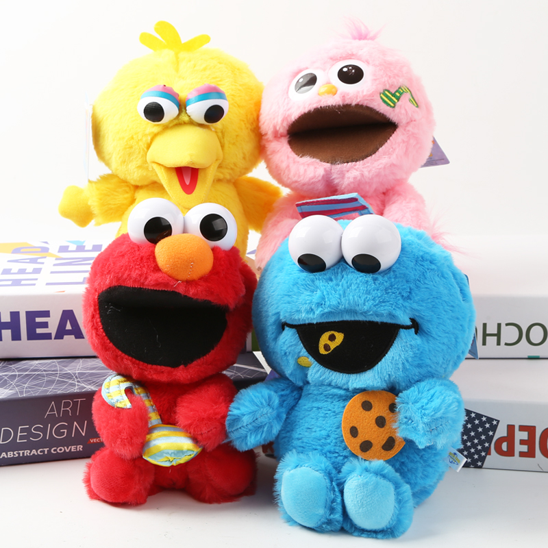 Us 8 89 11 Off 18cm Sesame Street Elmo Big Bird Cookie Monster Moppy Stuffed Plush Toy Doll With Plastic Eyes For Children Birthday Gifts In