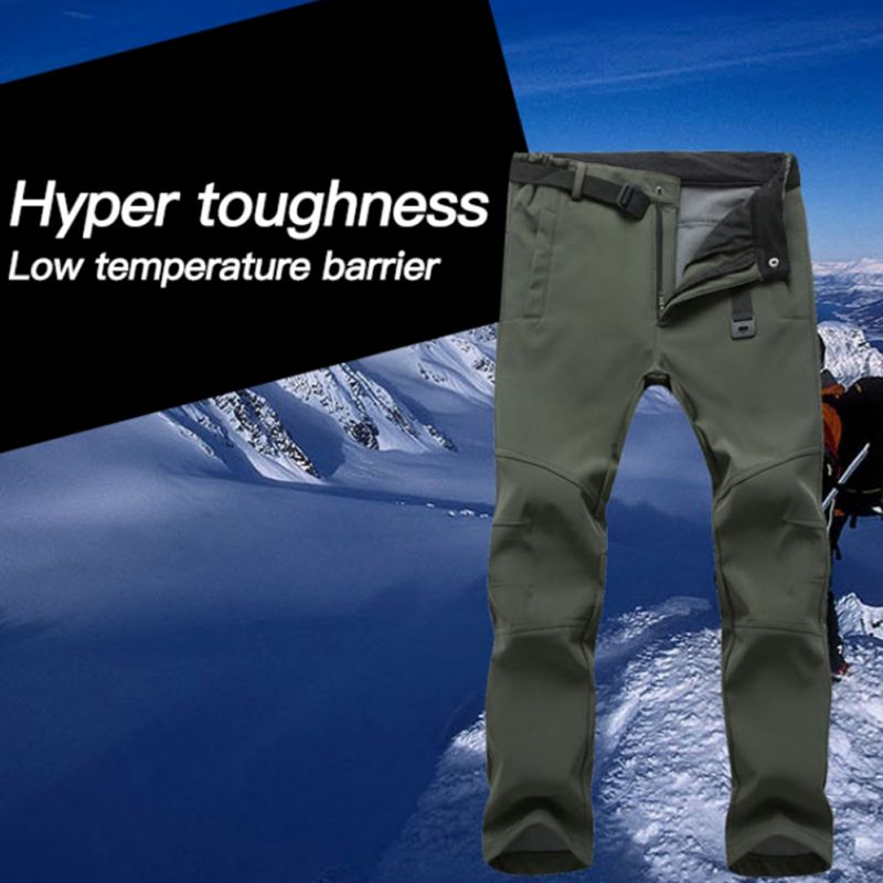 Men Women Windproof Skiing Pants Winter Warm Fleece Hiking Softshell Hose Climbing Camping Ski Pants