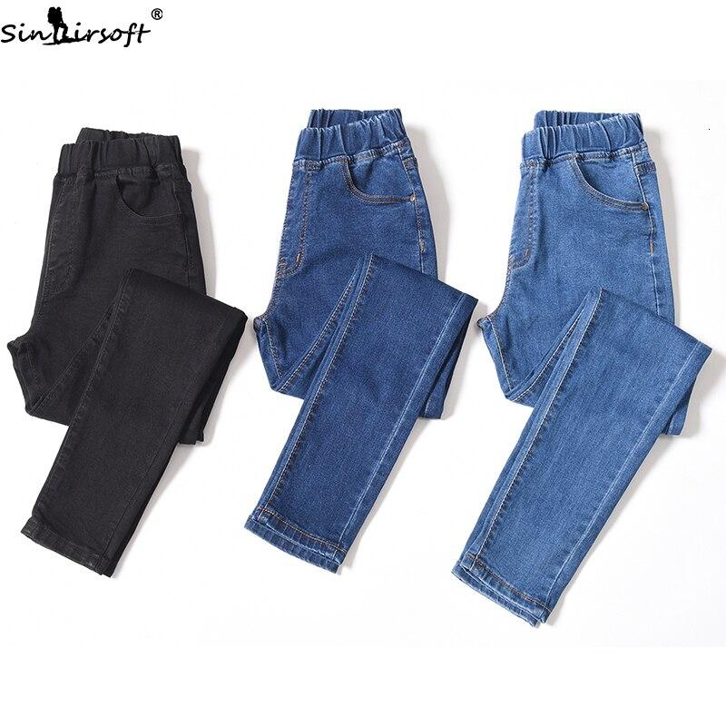 Fashion Trend Casual Wild Large Size Elastic High Waist Jeans Woman Cotton Soft Stretch Thin Feet Denim Pants Women