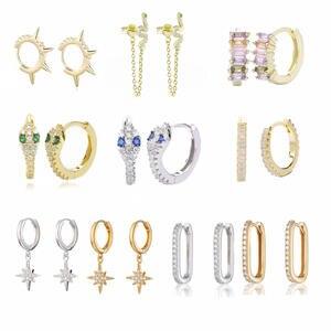 Moonmory Hoop Earring Snake Huggies 925-Sterling-Silver Fashion Women Opal for 31-Colors
