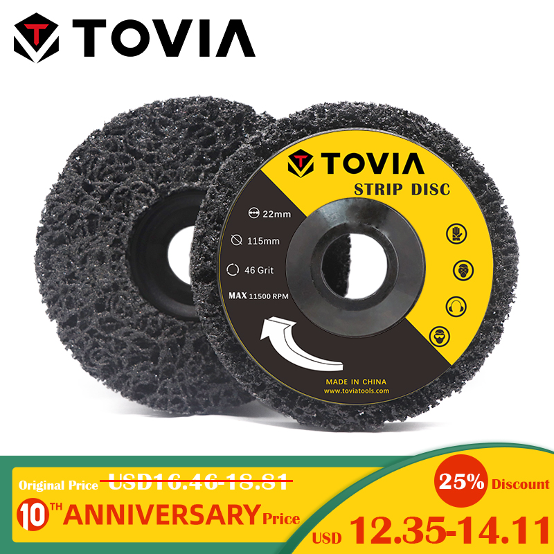 TOVIA 2PCS 125mm Poly Strip Disc For Angle Grinder Abrasive Wheel Clean Remove Rust Paint Car Grinding Disc 115mm