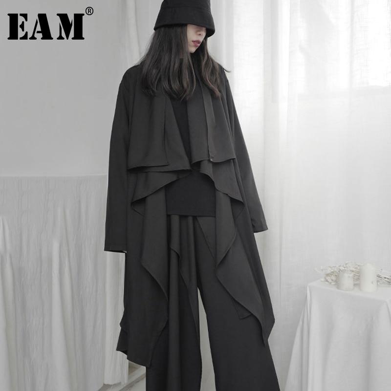 [EAM] Women Black Asymmetrical Big Size Trench New V-collar Long Sleeve Loose Fit Windbreaker Fashion Tide Spring 2020 1S219