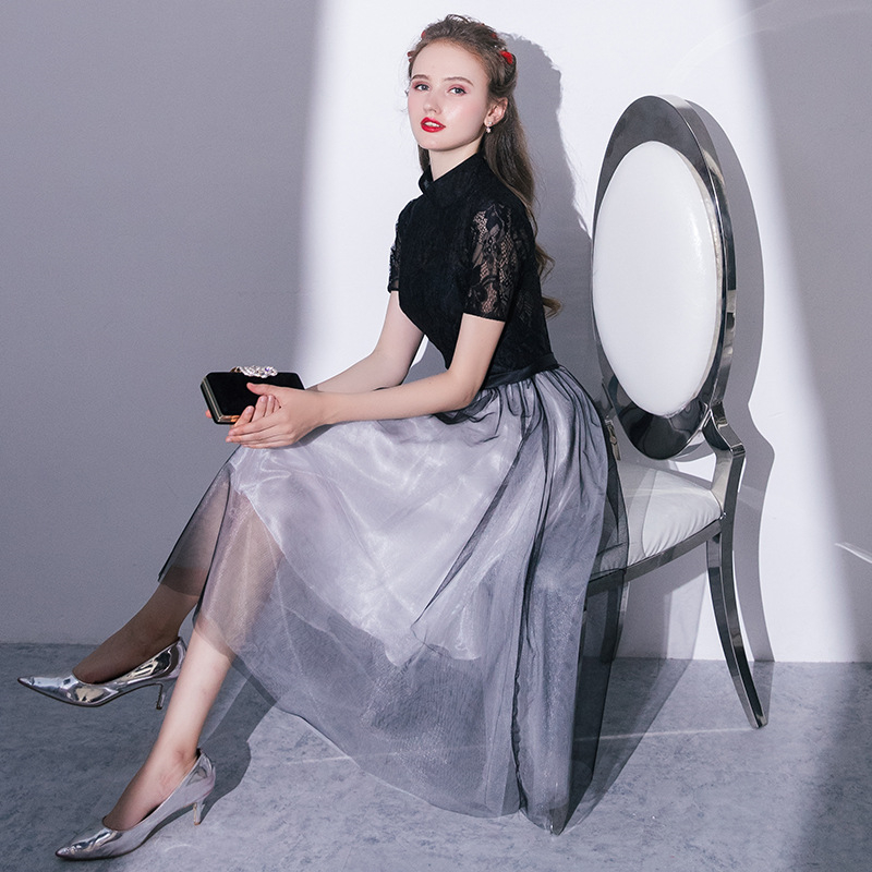 Evening Dress Fashion Black gray Patchwork Color Formal Gown Illusion chinese traditional dress Party Dresses vestido chino robe