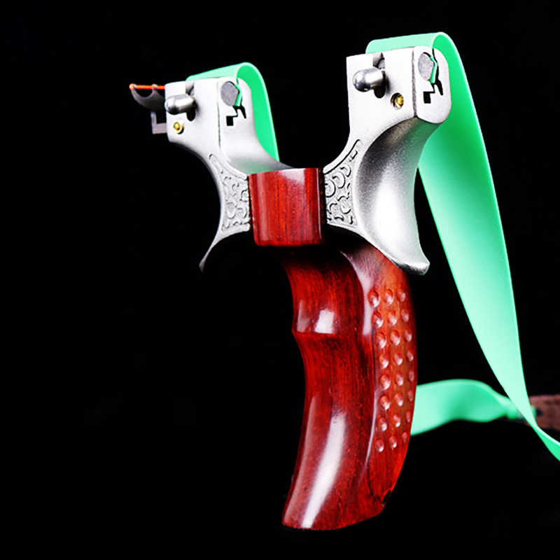 ציד הקלע נירוסטה גל זיזים בליסטרא עץ ידית עם גומייה חיצוני גבוהה דיוק ירי משחק קלע Shot