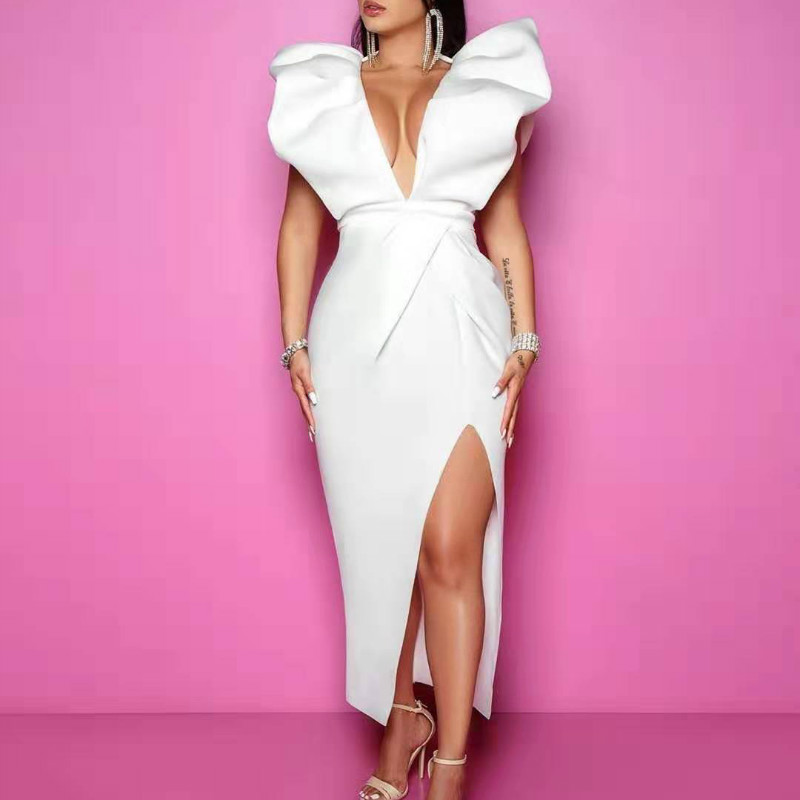 White Dresses Party Sexy Deep V Neck High Waist Slit Bodycon Ruffles Backless Event Occassion Women Celebrate Evening Night Robe