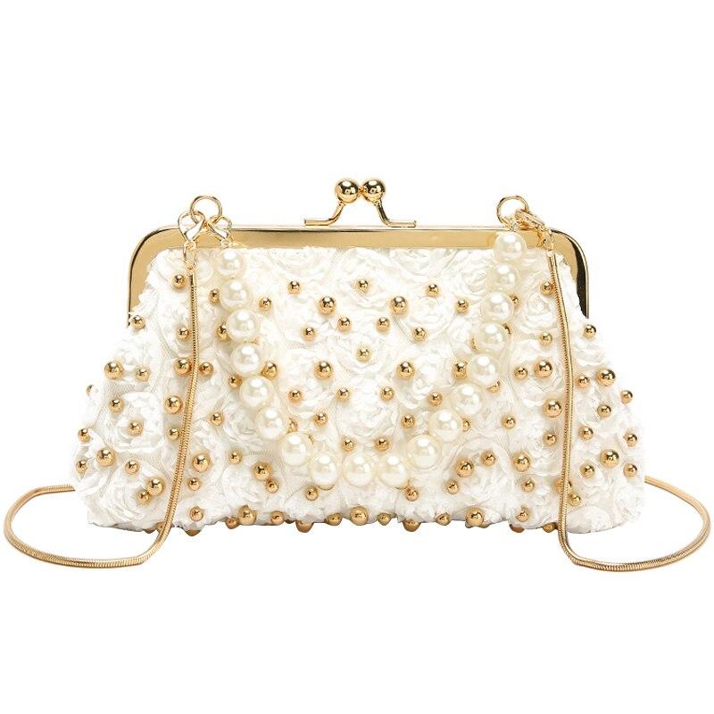 Fairy small handbag 2019 summer new fashion luxury high quality Messenger bag lady rivet chain shoulder pearl evening clutch