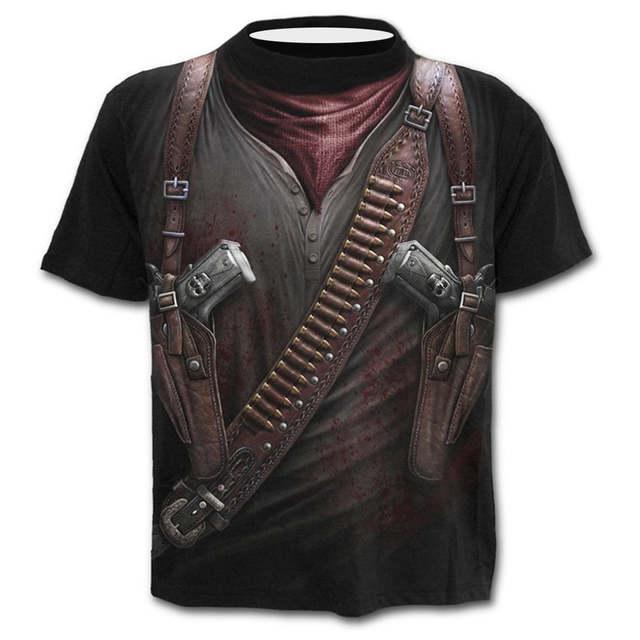 40 T Shirt Hommes Drole Hommes Western Cowboy Imprimer Col Rond Slim Fit Manches Courtes Chemise Haute Blouse Chemises T Shirts Aliexpress