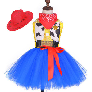 Image 2 - Toy Woody Cowboy Cowgirl Girls Tutu Dress with Hat Scarf Set Outfit Fancy Tulle Girl Birthday Party Dress Kids Halloween Costume