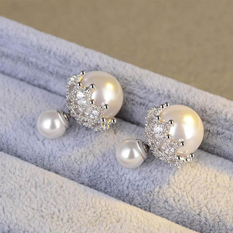 Vintage Fashion Sliver Lace Zircon Double Pearl Stud Earrings Two Wear Ways For Women Elegant Gifts 2019 New