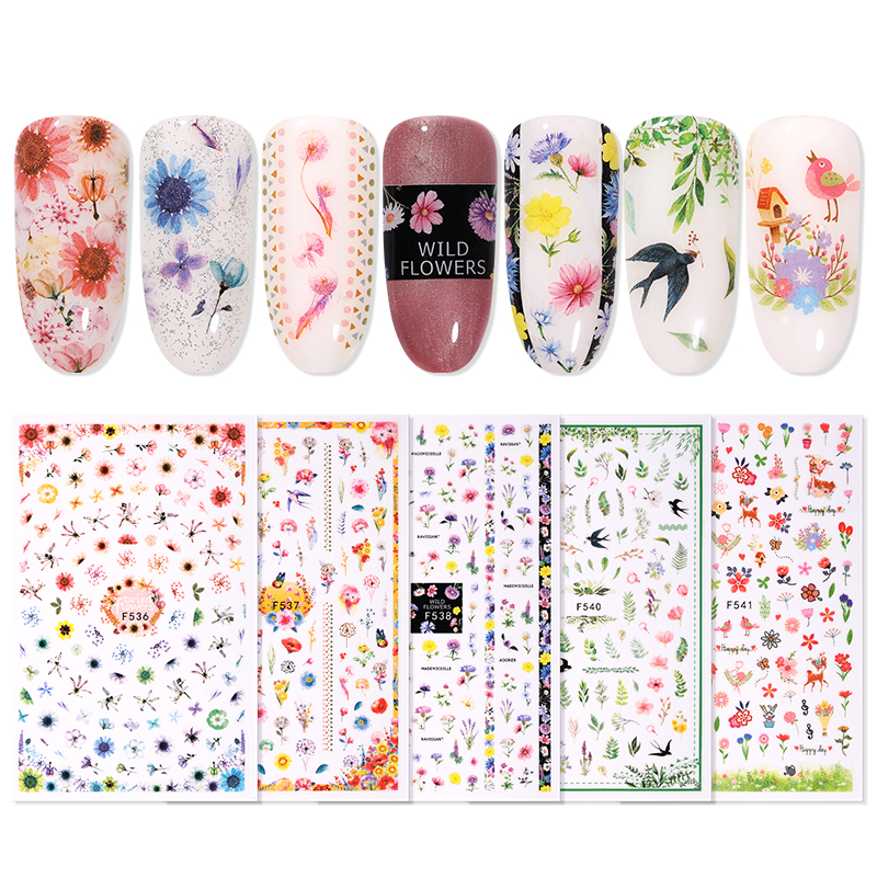 1 Pc Colorful Flower Leaves Spring 3D Nail Sticker Nail Art Transfer Stickers Nail Decorations DIY Slider Wraps Decor