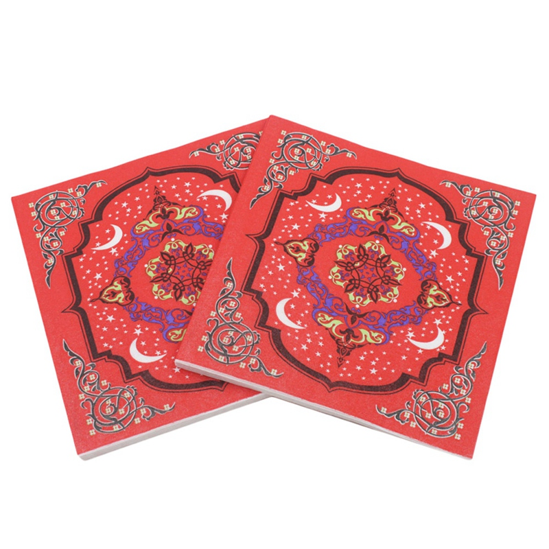 Ramadan Kareem Paper Napkin With Lamp Print Islamic Month For Muslim Eid Al-Fitr(Type-6)
