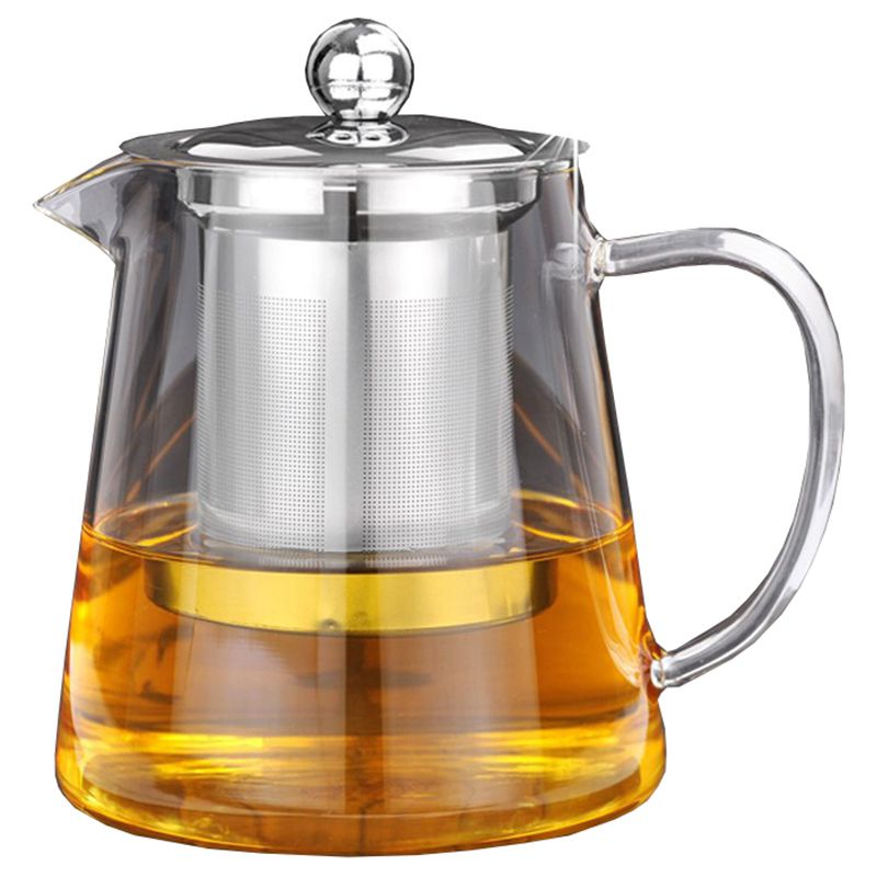 5Sizes Good Clear Borosilicate Glass Teapot With 304 Stainless Steel Infuser Strainer Heat Coffee Tea Pot Tool Kettle Set 550Ml|Tea Cozies| |  -