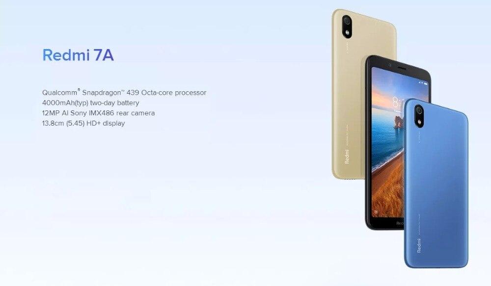 "H574f251d79614e02a0ed90a4c09ab111c Global Version Xiaomi Redmi 7A MI Celular 2GB 16GB Smartphone Snapdargon 439 Octa Core 4000mAh AI Face Unlock 5.45"" 13MP Camera"