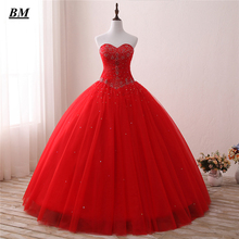 Luxury Red Quinceanera Dresses 2019 Ball Gown Sweetheart Beaded Sweet 16 Dresses Floor-length Formal Prom Party Dress BM22 цена и фото