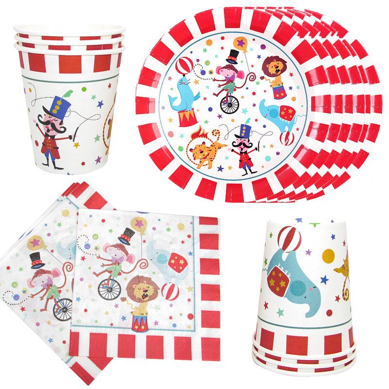 44 шт./компл. вечерние украшения цирка акробатические животные бумага одноразовая посуда набор Дети День Рождения вечерние принадлежности д...
