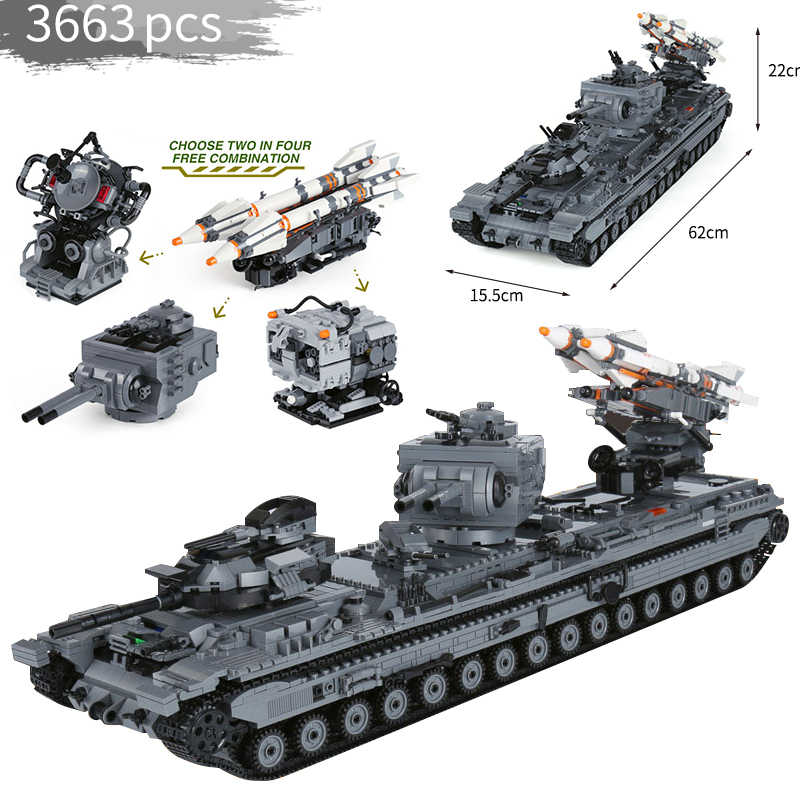 legoinglys 3663 PCS Heavy 3 Heavy firepower tank KV-2 military Building Blocks ww2 Figures Weapons for children gifts model toys