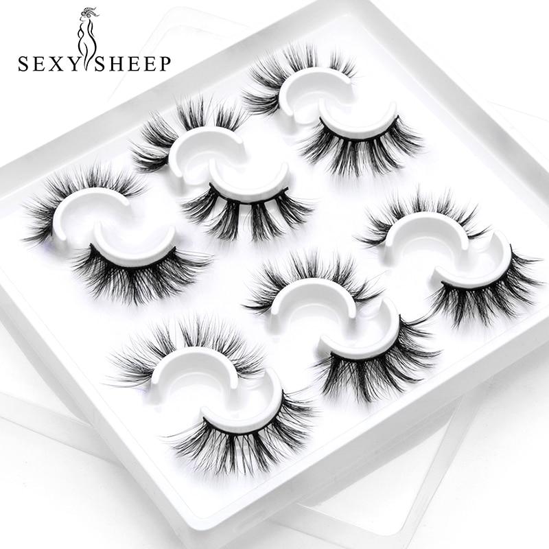 SEXYSHEEP 6 Pairs 3D Mink Lashes Natural False Eyelashes Dramatic Volume Fake Lashes Makeup Eyelash Extension Silk Eyelashes