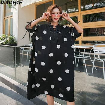 DIMANAF Summer Oversize Dress Women Clothing Sundress Chiffon Elegant Lady Vestidos Casual Loose Plus Size Print Dot Black 2020