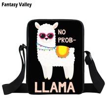 Funny llama print mini messenger bag Cute alpaca women handbag  crossbody bags small shoulder bag book bag gift