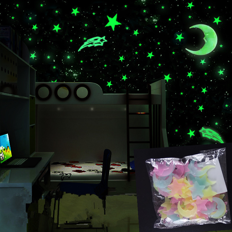 New 100Pcs/set Night Luminous Moon Star Stickers Light Up Glow In The Dark For Baby Kids Bedroom Decor Kids Xmas Birthday Gift E