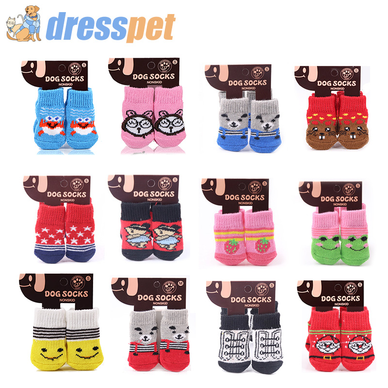 Pet Dog Socks 4Pcs/Set Cotton Warm Non slip Cat Shoes Christmas New Year Pet Socks For Cats Puppy Chihuahua Cute Dog Foot Cover|Dog Socks|   - AliExpress