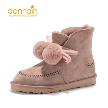Pink Shoes DONNAIN Snow-Boots Suede Wool Ankle Winter Women for Pull-On Round-Toe Flat