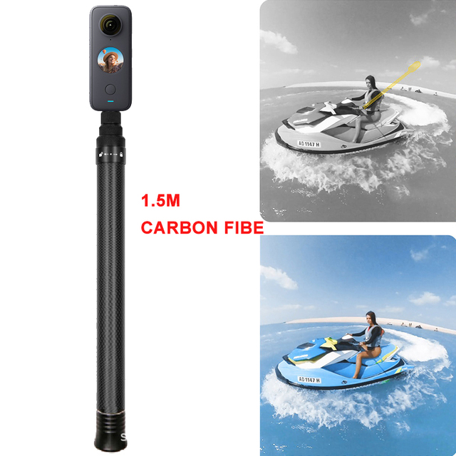 1.5m Ultralight Carbon Fiber Invisible Handheld Selfie Stick Extendable Pole Monopod for Insta360 ONE X2 ONE R GoPro Accessories