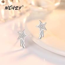 Zircon Earrings Crystal Fashion Jewelry 925-Sterling-Silver Simple Pentagram Woman Retro