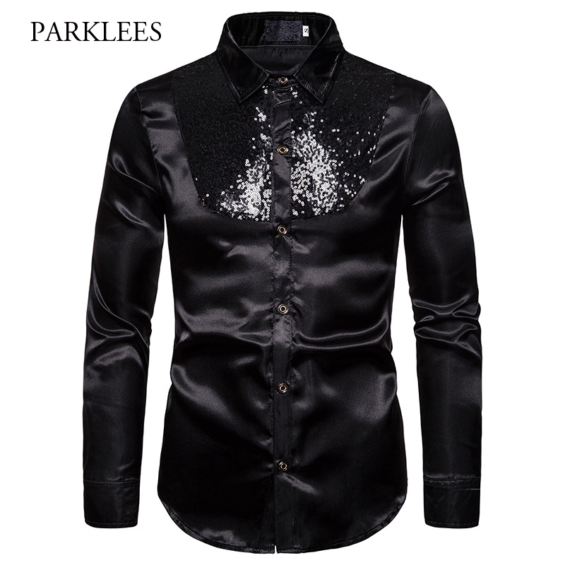 Classic Black Shiny Sequin Shirt Men 2019 New Long Sleeve Chemise Homme Night Club Stage Dress Prom Dance Bling Camisa Masculina