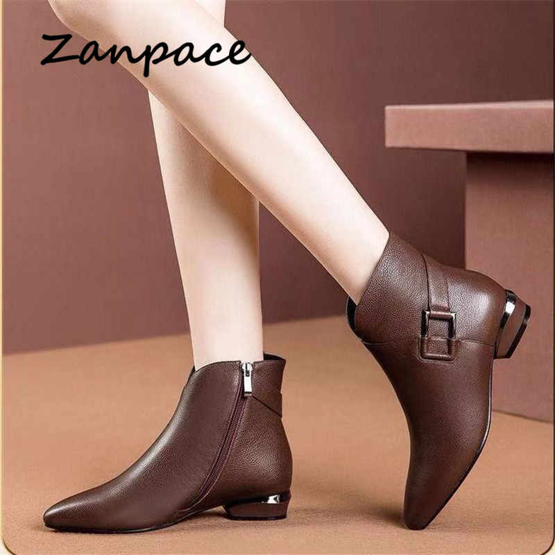 ZANPACE 2020 Mode Frauen Stiefel Winter Zipper Retro Leder Schuhe Spitz Starke Ferse Stiefeletten Plus Größe High Heels schuhe