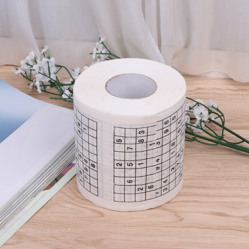 High Quality Durable Sudoku Printed Tissue Paper Creative Funny Game Toilet Paper Roll 2-layer Game Facial Tissue Novelty Gift