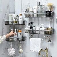 Wand-Montiert Dreieck Lagerung Rack Bad Regal Mit Handtuch Bar Haken Organizer Für Bad Haushalts Artikel Bad Zubehör