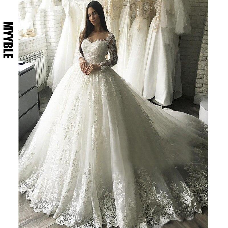 MYYBLE New Gorgesous Long Sleeves Ball Gown Lace Wedding Dresses Bridal Gown Celebrity vestido De Noiva Luxury robe de mariee