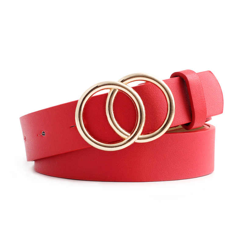 Novo grande preto vermelho branco marrom cinto de cintura couro ceinture femme mulher duplo o anel cintos para as mulheres vestido cinturones para mujer