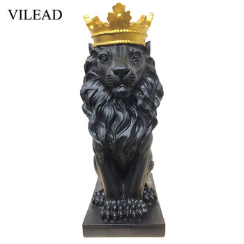 VILEAD Golden Crown Lion King Statue Nordic Handicraft Home Office Decoration Lion King Modle Animals Art Sculpture 1