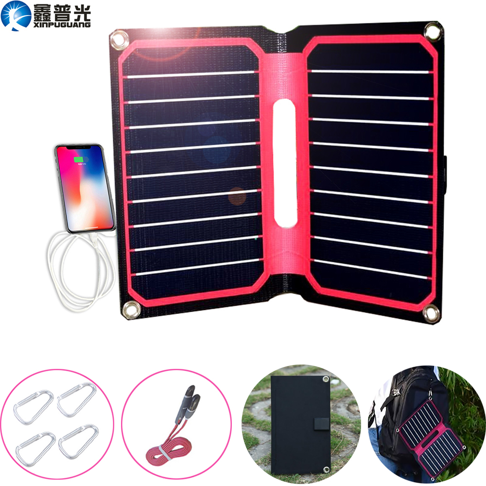 Xinpuguang ETFE Flexible Solar Panel Foldable 10W 5V USB Charger for home mobile phone waterproof outdoor camping hiking travel Solar Cells     - title=