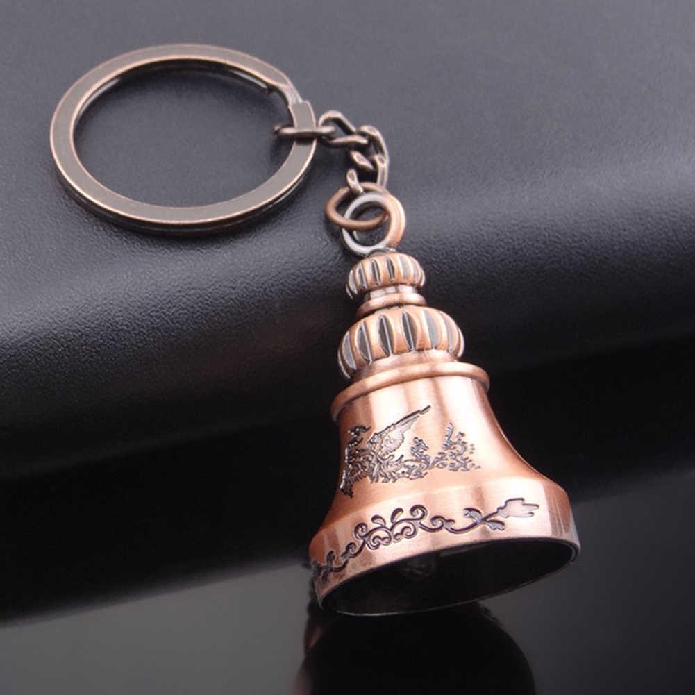 1 Uds. Llavero con colgante de campana de dragón Phoenix antiguo de 9,8 cm x 2,9 cm, llavero con llavero, llavero de bolsa, adornos de regalo soporte para llavero, llaveros de coche