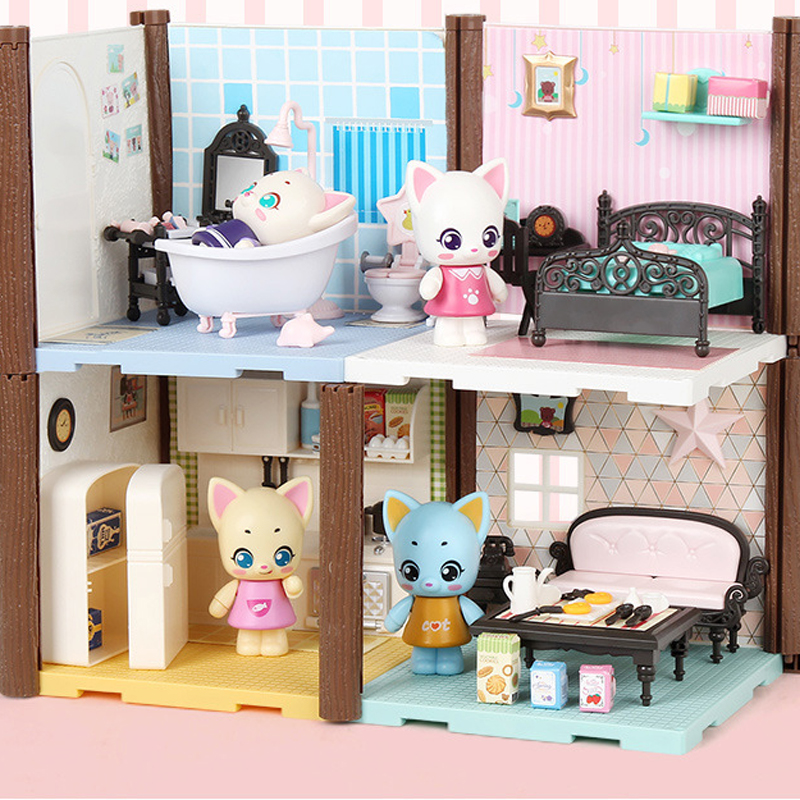 1set Baby Model Dollhouse With Furnitures Cat'S Mini Family Scene Bathroom Kitchen Model Girl Play House Toys Birthday Gifts Toy