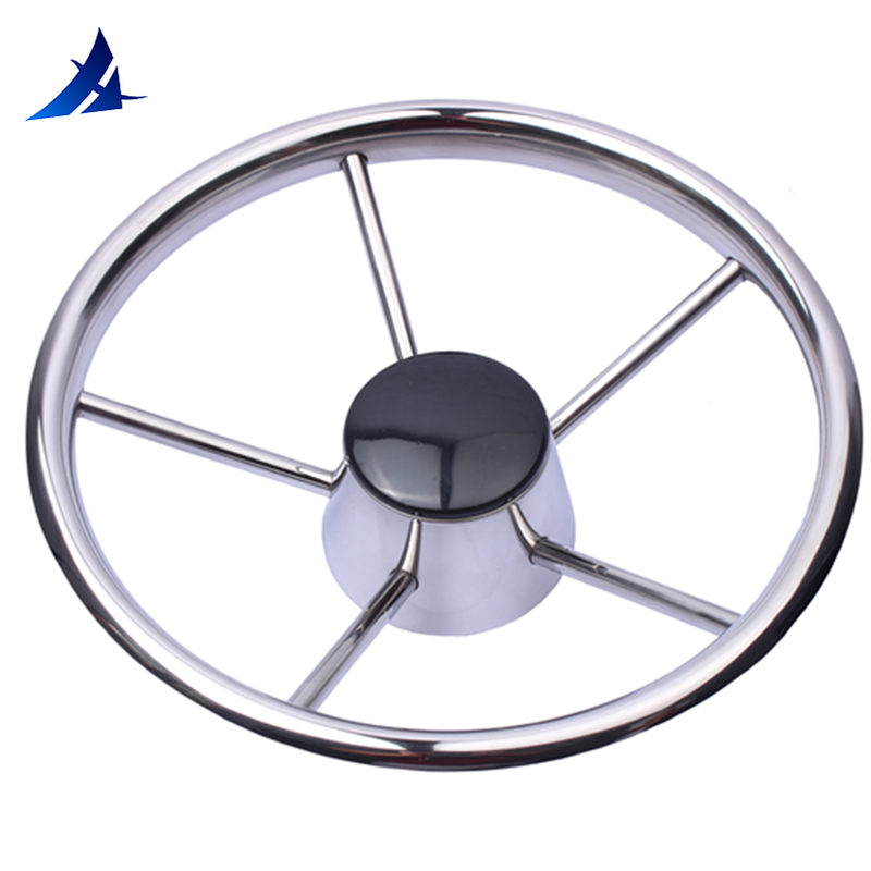 Boat Accessories Marine 5 spoke stainless steel steer wheel mirror polished marine for boat yacht 15.5''